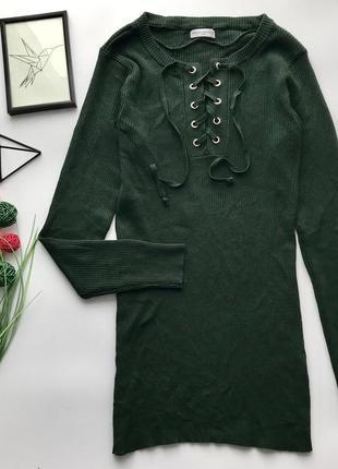 Шикарный изумрудный зелёный свитер с шнуровкой в рубчик / удлинённый гольф