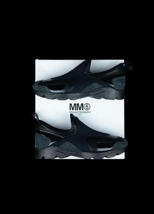 Оригинальные кроссовки mm6 maison margiela black panelled slip-on sneakers women