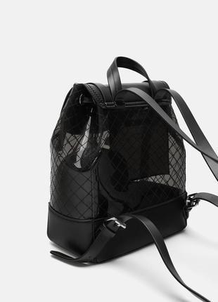 Черный виниловый рюкзак zara оригинал