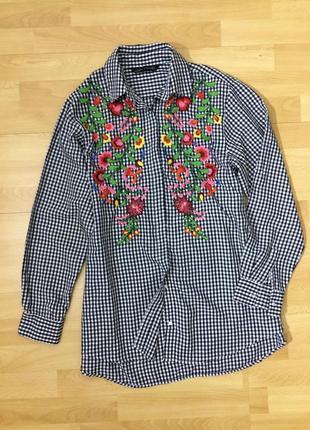Стильная рубашка блузка в клетку с вышивкой вышиванка бойфренд zara оригинал4