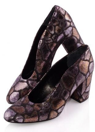 Туфли женские franco russo 0312/7 коричневые/комбинированный цвет