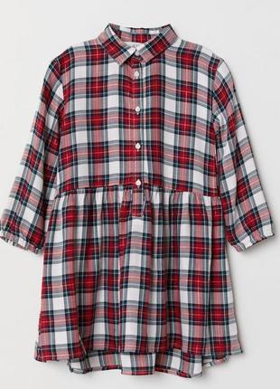 Новое платье-рубашка в клетку для девочки, h&m, 0653335