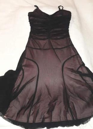 Платье-сарафан вечернее для девочки черное сетка с трикотажной подкладкой