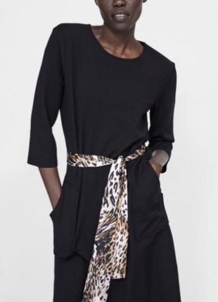 Платье с поясом атласным леопард animal print миди платье zara оригинал