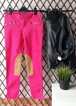 Polo ralph lauren, розовые укороченные джинсы, брюки с нашивками