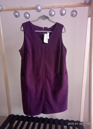 Красивое стильное платье-сарафан под замшу