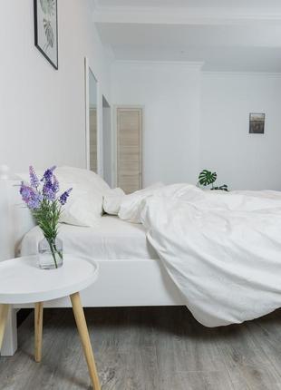 """Двуспальный комплект постельного белья из сатин-жаккарда """"молоко"""", 100% хлопок"""