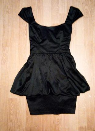 Чёрное платье с открытой спиной футляр карандаш классическое с бантом коктейльное