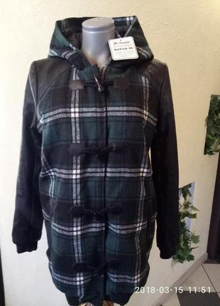 Sale! зимняя длинная куртка с кожаными рукавами и капюшоном 46-50р