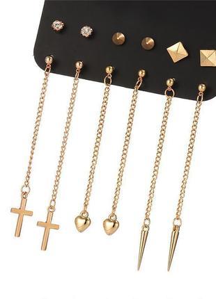 Повседневный набор 6 пар серьги гвоздики крест сердце шипы на цепочке висюльки