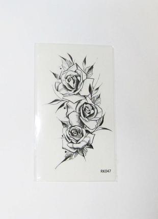 Роза флеш тату, флэш татту, переснималки, временные, чёрные татуировки мини