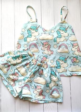 Пижама шорты и майка в единороги 100% хлопок