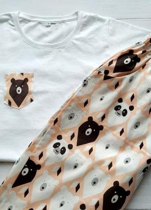 Пижама штаны и футболка 100% хлопок xs, s, m, l