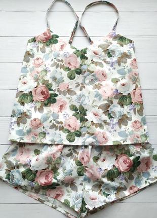 Женская пижама в цветы 100% хлопок2 фото