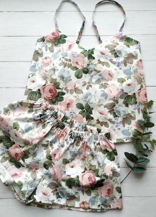 Женская пижама в цветы 100% хлопок1 фото