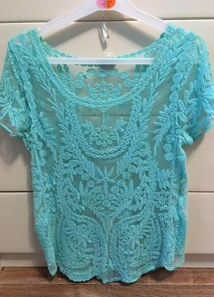 Футболка кружевная мятная бирюзовая/блуза гипюровая мятного цвета