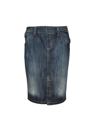 Крутая джинсовая юбка zara trf luxury denim, размер l-xl