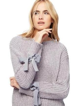 Велюровый плюшевый свитер  с бантами