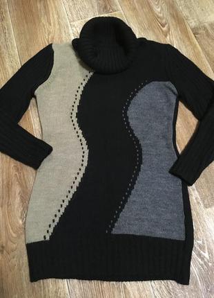 Тёплый длинный свитер из натуральной шерсти/удлинённый свитер/туника/свитер-платье