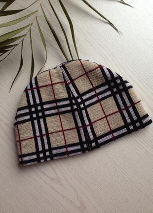 Трендовая двойная теплая шапка пр-во британия в клетку стиль burberry унисекс