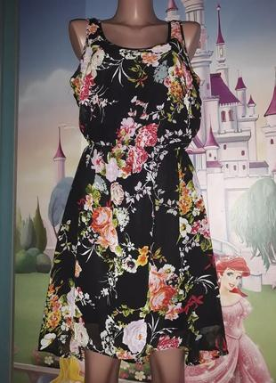 Красивое шифоновое,лёгкое платье в цветы only р.44