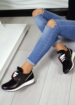 Кожаные черные кроссовки 36-40 натуральная кожа и замша