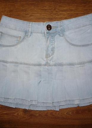 Классная джинсовая юбка плиссе р.25
