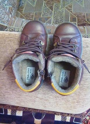 Кожаные ботинки,сапожки,ортопедические,тонкий мех,30р.pablosky.