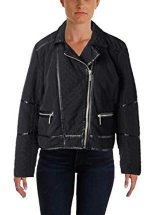"""Куртка """"мото"""" michael kors, косуха ,стеганая ,с кожаной отделкой размер l"""
