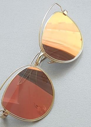 Модные зеркальные очки-кошки. бесплатная доставка