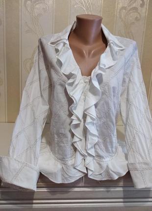 Нарядная натуральная блузочка с узором. scarva.