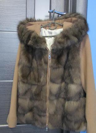 Соболь. шуба. пальто из соболя с капюшоном. новое