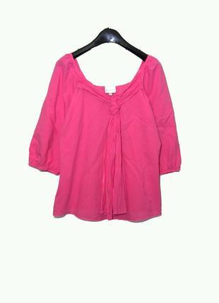 Очаровательная розовая блуза из хлопка с галстуком