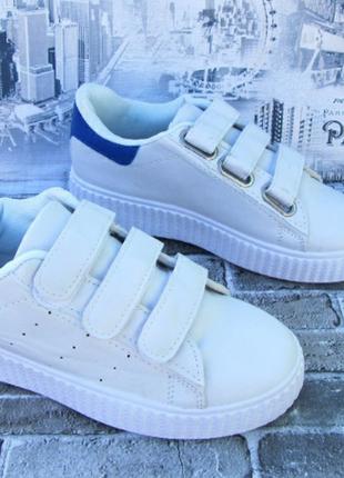 Кроссовки  кеды белые на 3-х липучках все размеры