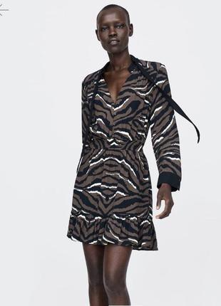 Платье animal print с рюшами с бантом оборками zara оригинал тигровое леопард
