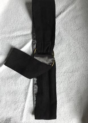 Тканевый пояс на талию под замшу , чёрный . круглая пряжка