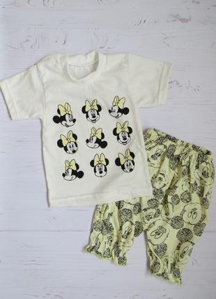 """Комплект футболка и шорты """"минни"""" 68-74 рост, детская одежда летняя"""