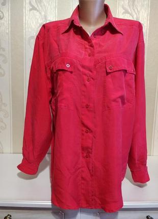 Шелковая удлиненная рубашка с карманами. 100% шелк.