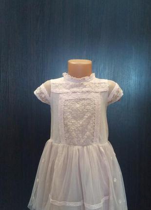 Пудровое платье next,4-5л,с фатин ,кружевное