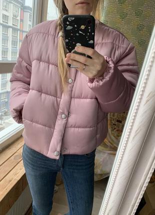 Куртка дутая легкая укороченная кроп оверсайз из премиум атласа puffa (asos)