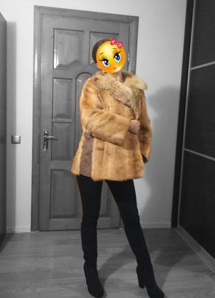 Полушубок / кожушок норковий рудий з комірцем із лисиці