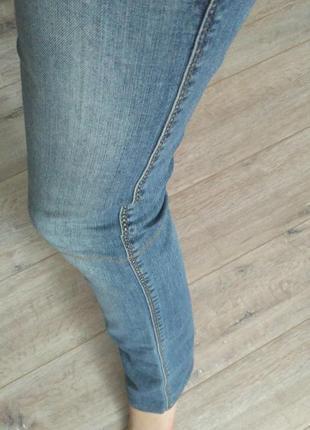 Джинсы синие голубые потертые прямые низкая посадка классика штаны брюки