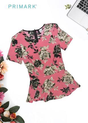 Блуза-футболка в цветах с молнией primark