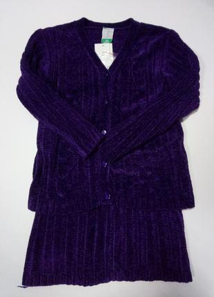 Костюм из вискозы, кофта и юбка, школьная форма
