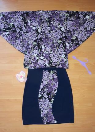 Блуза, рубашка, блузка в цветы шифоновая, сорочка в квіти, літня