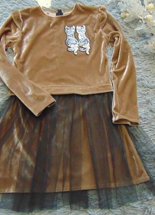 Модное платье велюр фатин/паетки перевертыши от 122 до 152