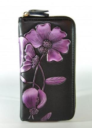 Удобный кожаный кошелек с технологией rfid purple