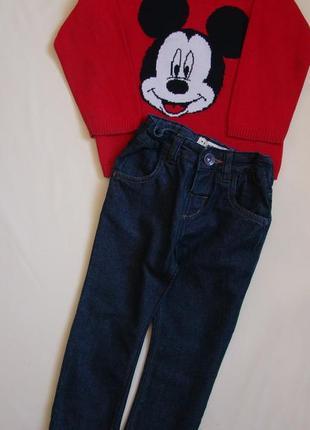 Стильный комплект моднику 1,5-2 года джинсы штаны next + свитер h&m в подарок