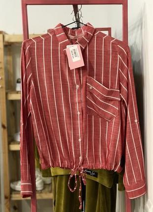 Стильна сорочка у полоску, укорочена полоска на зав'язку