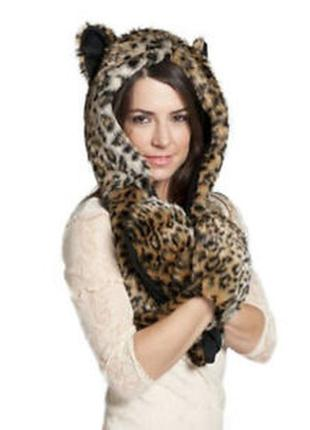 Бомбезаня теплая шапка шарф капор